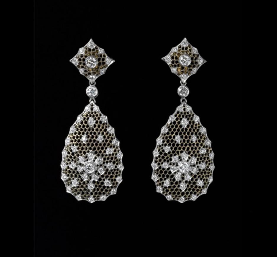 Diamond & 18k Gold Lace Earrings