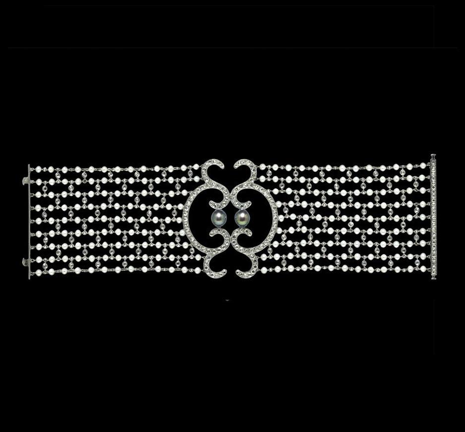 Diamond, Baby Pearl & Black Pearl Bracelet