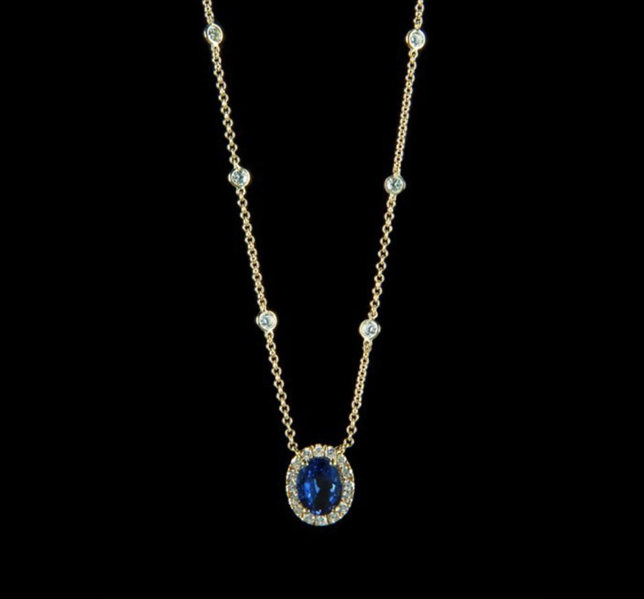 Diamond, Blue Sapphire & 18K Gold Pendant