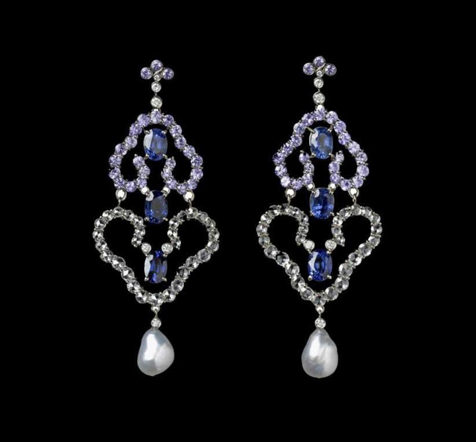 Diamond, Blue Sapphire & Pearl Earrings