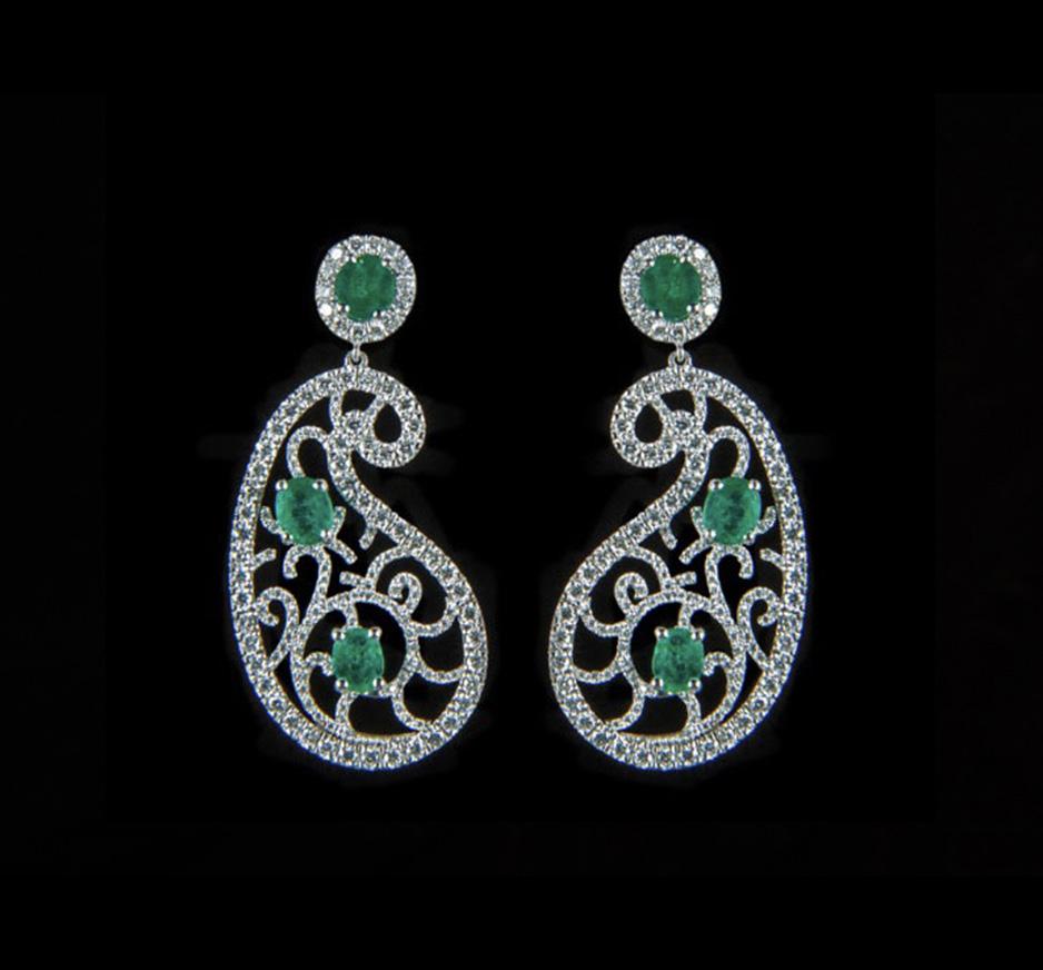 Diamond, Emerald & 18K Gold Earrings