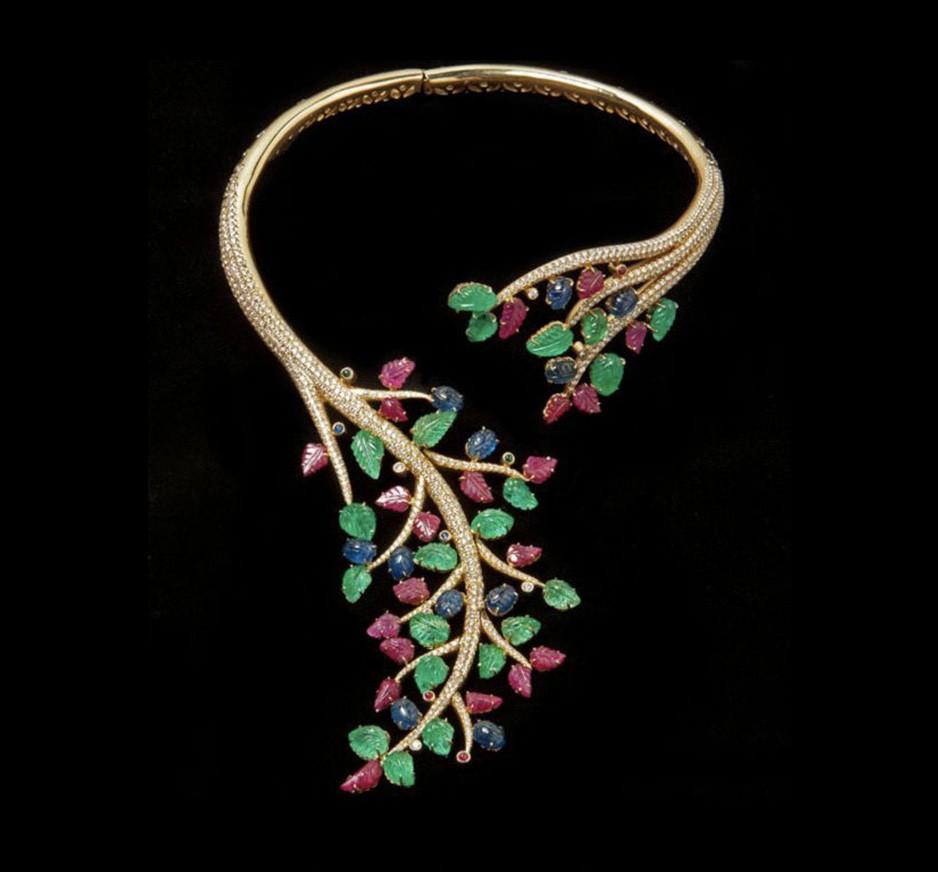 Diamond, Emerald, Ruby, Sapphire & 18K Gold Necklace