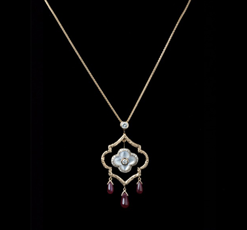Diamond, Mother of Pearl & Ruby Necklace