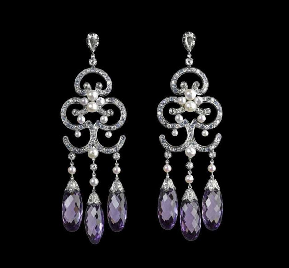 Diamond, Pearl, Blue Sapphire & Amethyst Earrings