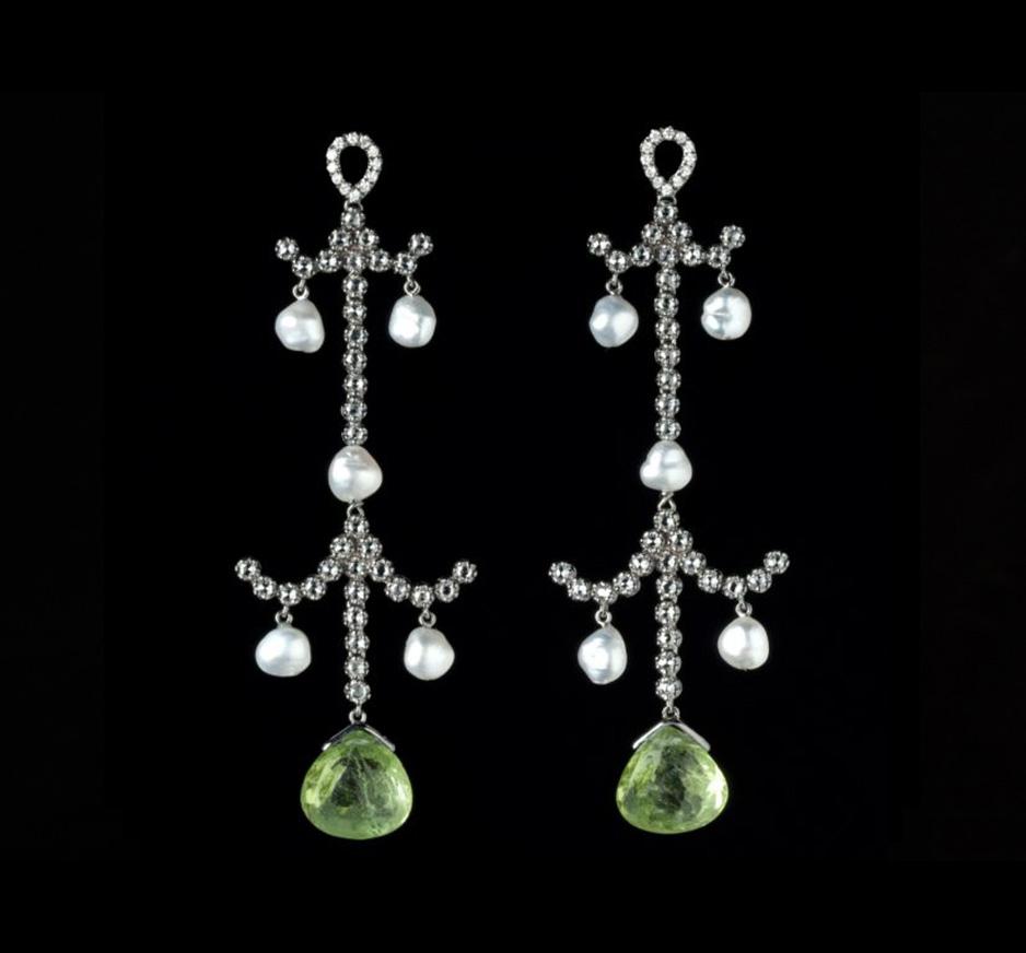 Diamond, Pearl & Peridot Earrings