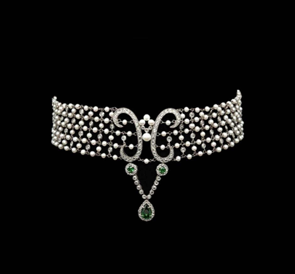 Diamond, Pearl & Tsavorite Choker
