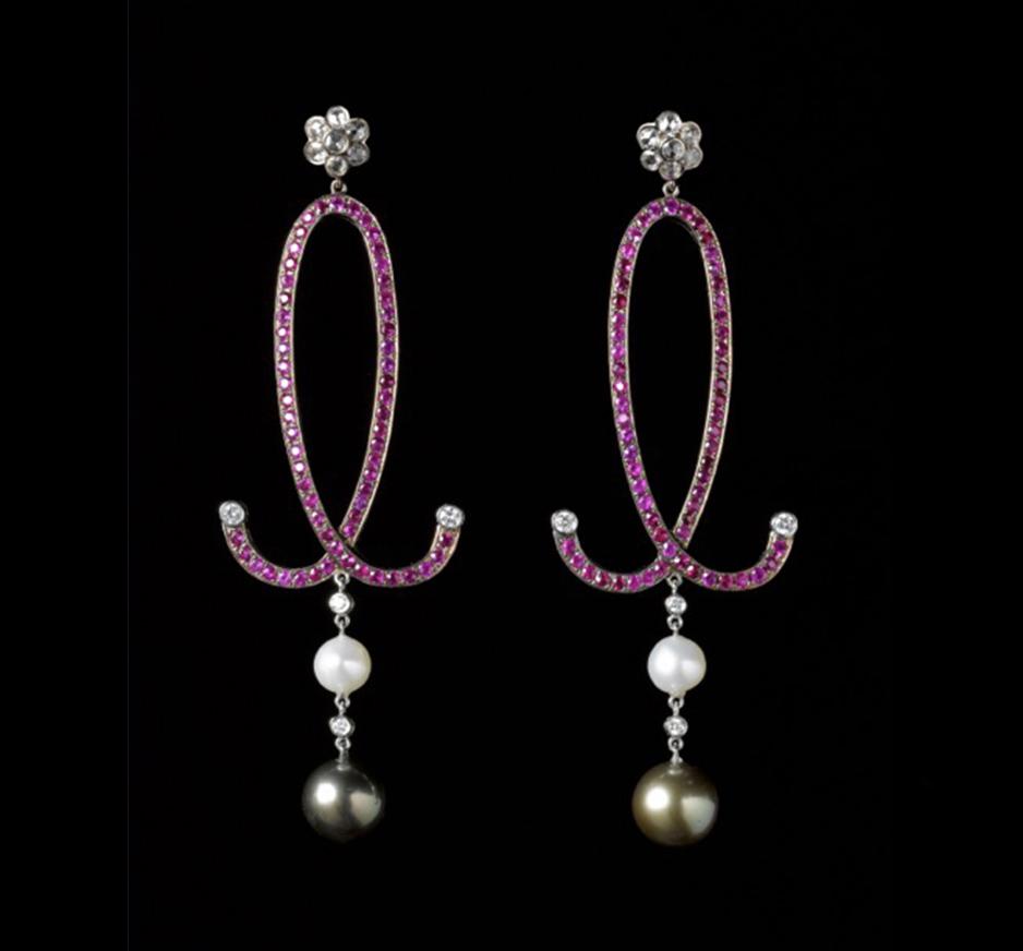 Diamond, Ruby & Grey Pearl Earrings