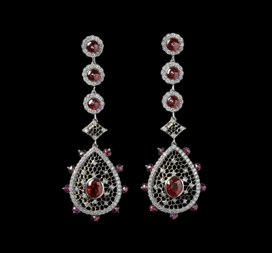 Diamond, Ruby & Orange Sapphire Lace Earrings