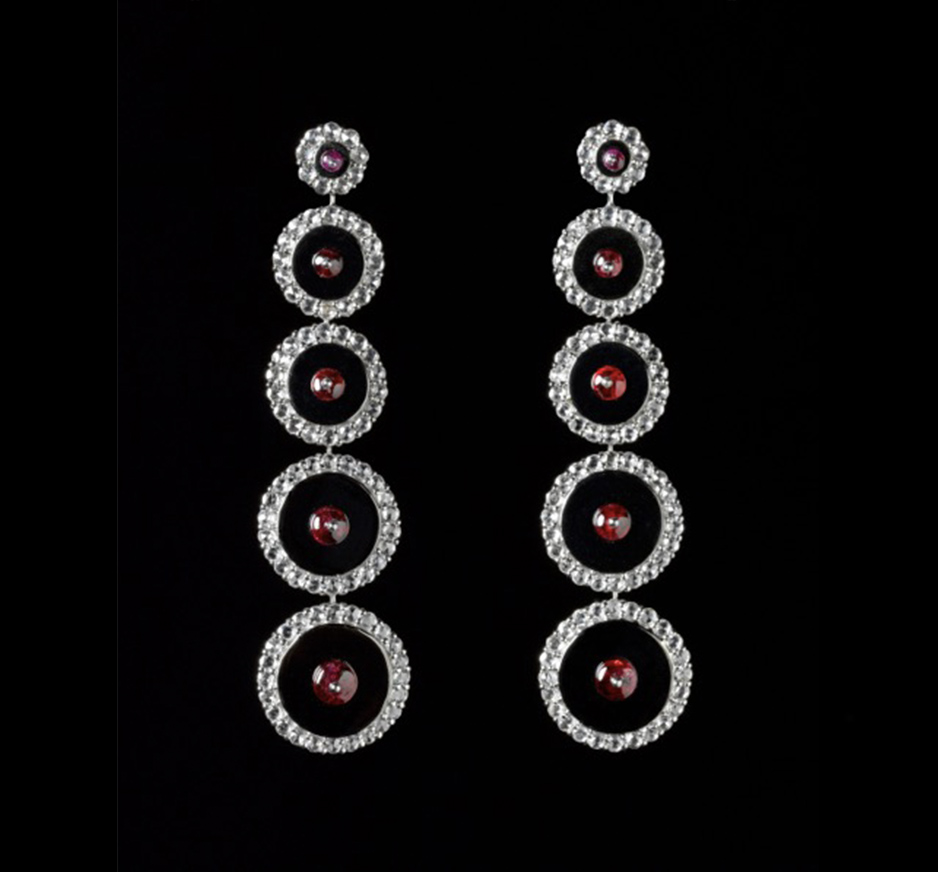 Diamond, Ruby and Onyx Earrings