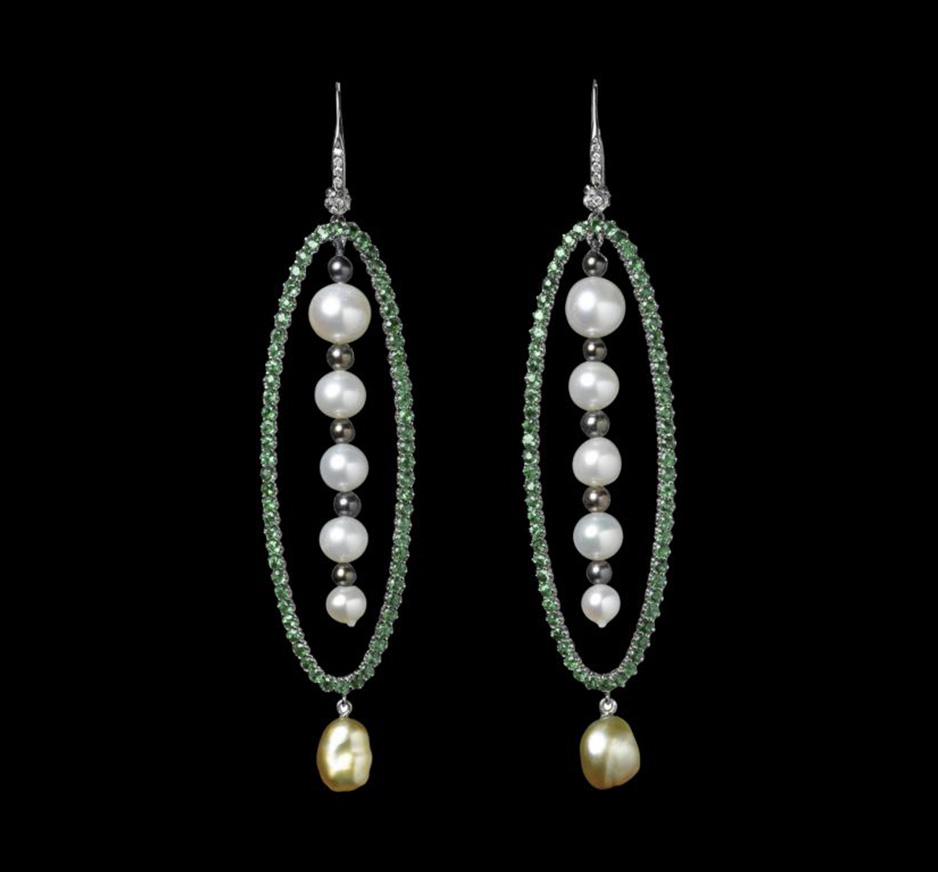 Diamond, Tsavorite, White Pearl, Black Pearl & Yellow Pearl Earrings