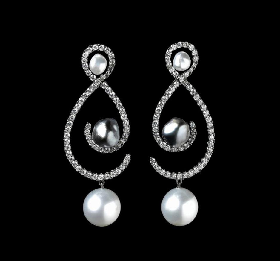 Diamond, White Pearl & Grey Pearl Earrings