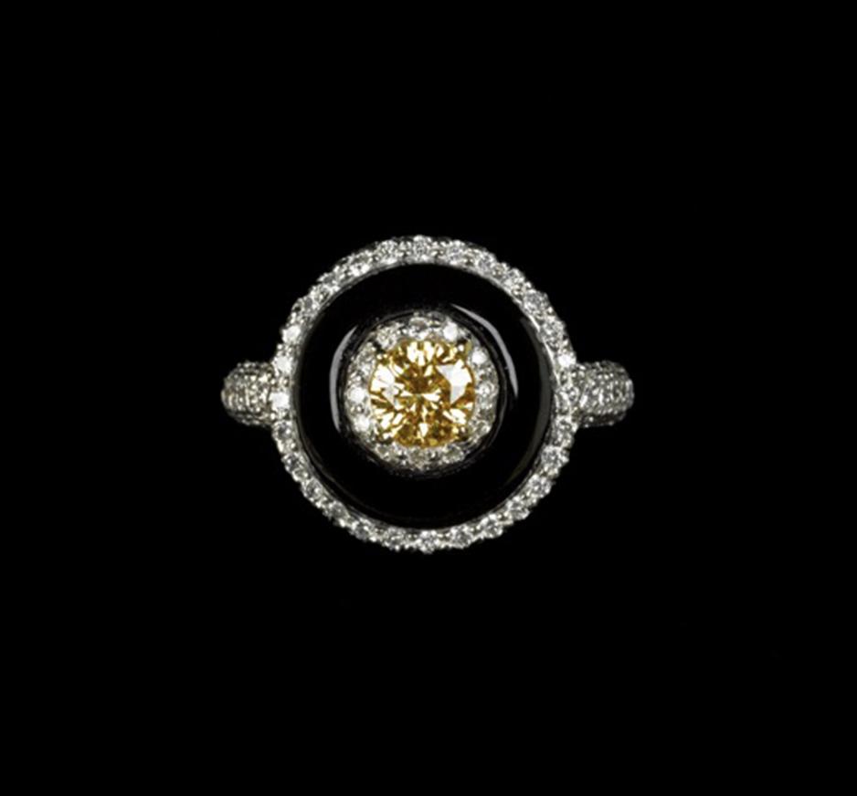 Diamond, Yellow Sapphire & Onyx Ring