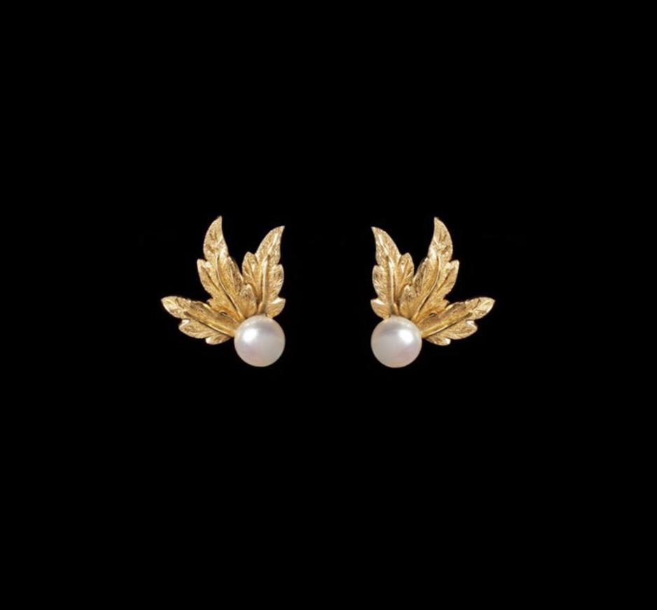 Pearl & 18K Gold Earrings