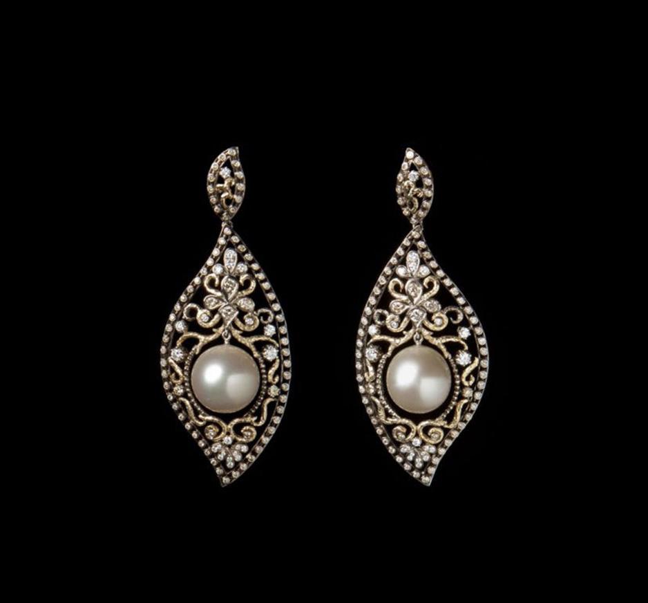 White Diamond, Brown Diamond, Bronze Pearl & 18K Gold Earrings