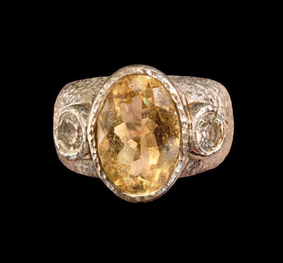 Yellow Quartz, White Topaz & White Gold Vermeil Ring